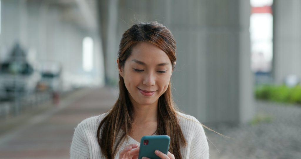 Woman check on mobile phone